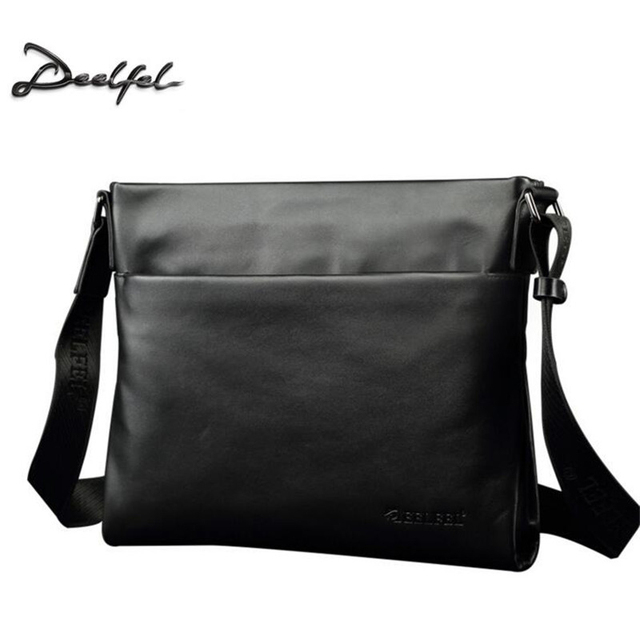 DEELFEL Brand 100% Top Genuine Leather Men Bags Casual Slim Shoulder Bag  Business Travel Ipad Crossbody Bag for Male Cowhide Bag c094f3335d313