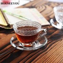 HOUSEEYOU, европейская, ретро, Выгравированная Цветочная стеклянная чайная чашка, блюдце, набор, 240 мл, чайные чашки, кофейная чашка, Современная фарфоровая кружка для чая на День святого Валентина