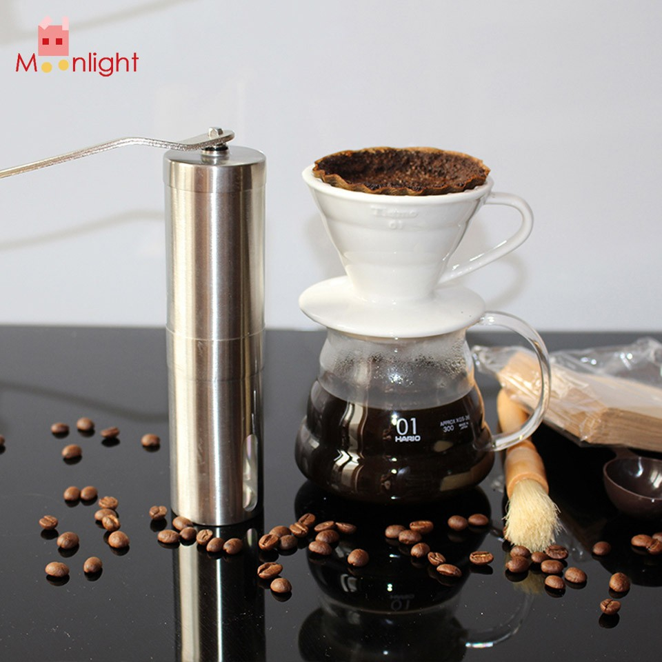 BEST Stainless Steel Coffee Grinder Machine Manual Coffee Bean Grinder Mill Home Kitchen Manual Hand Coffee Grinder Tool Silver