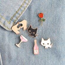 6pcs/set Black White Cats Rose Champagne Wineglass Heart Brooch  Jewelry Gift
