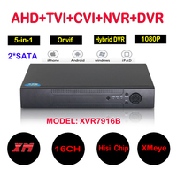 16Ch 1080P CCTV DVR NVR HVR Support 5 IN 1 AHD CVI TVI CVBS IP Camera
