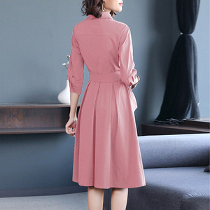 Image 2 - אופנה ורוד נשים של שמלות שרוך קשת גבירותיי Robe Femme קיץ חולצות שמלות אלגנטי Vestidos אישה משרד בגדים