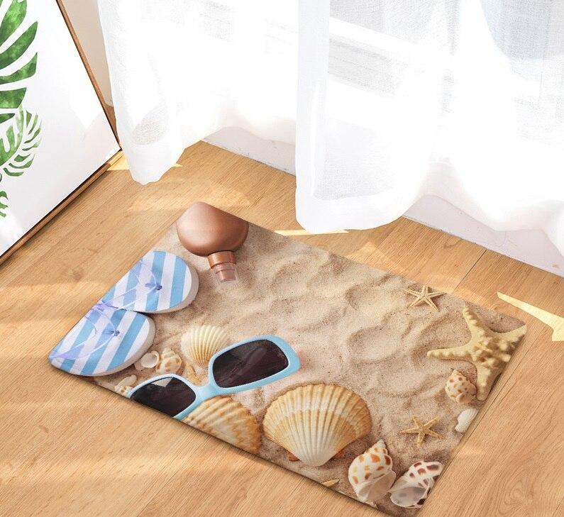 Image 4 - CAMMITEVER Beach Sandy Shells Sea Star Summer Holiday Style Rug Anti Slip Doormat Home Decor Door Mat Floor Living Room Carpet-in Rug from Home & Garden