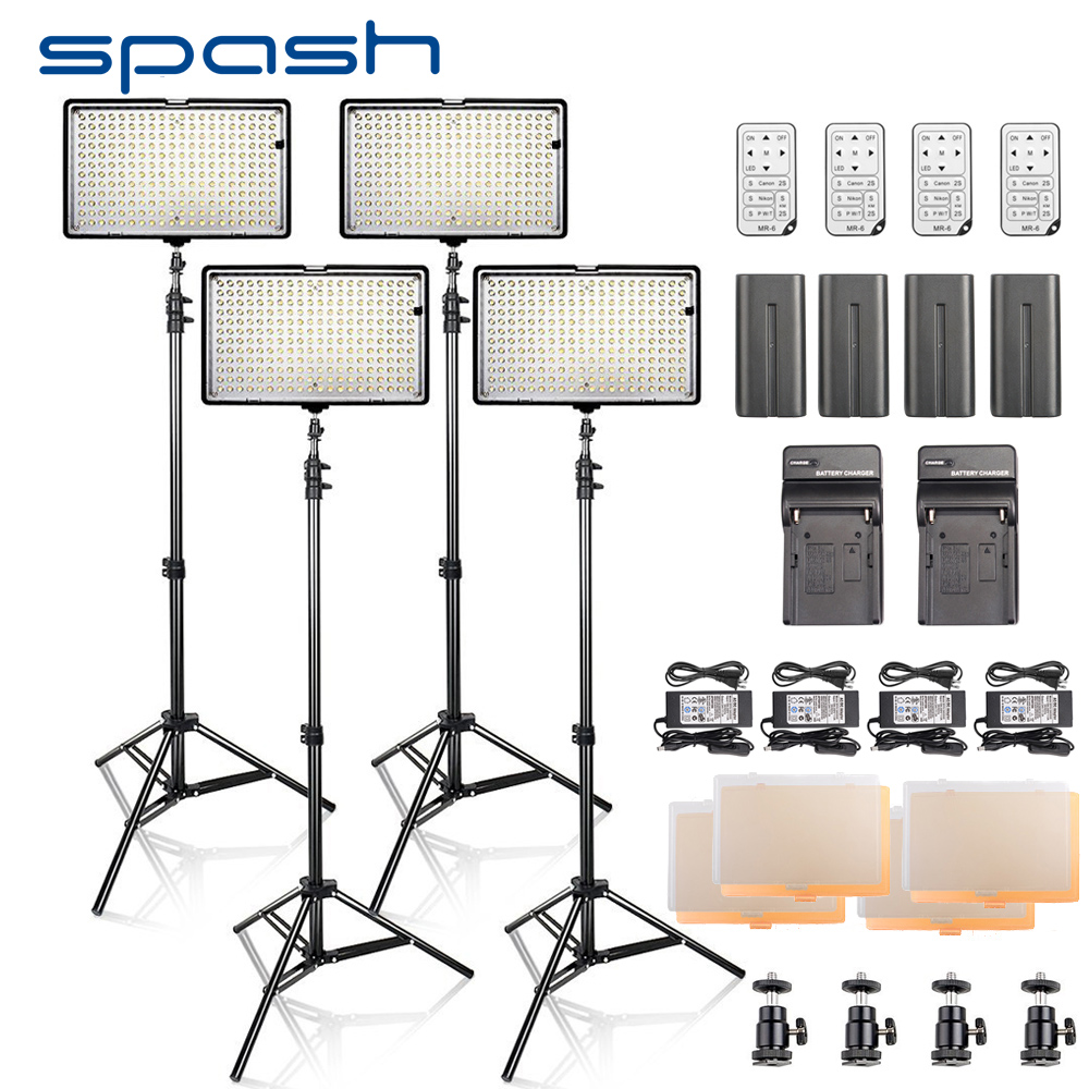 spash LED Video Light 4 in 1 Kit Photography Lighting with Tripod Remote Control CRI 93 3200K-5600K 240 LEDs Photo Studio Lamp nanguang cn r640 cn r640 photography video studio 640 led continuous ring light 5600k day lighting led video light with tripod