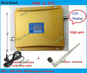 Best price LCD Display !Dual Band 65dBi GSM/ DCS 900Mhz 1800Mhz Mobile Phone Signal Repeater GSM /DCS Booster Amplifier Extender
