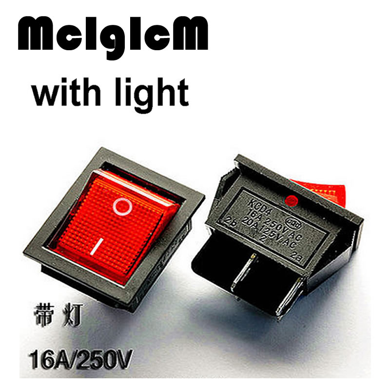 H012-02 2pcs Boat Rocker Switch 16A/250V 20A/125V SPST 4 PIN 25*31mm ON/OFF with RED LED Light Free Shipping 15a 250vac 20a 125vac 3 way red pilot lamp three spst rocker switch 2 pcs