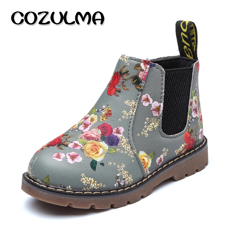 7712789a465 Buy COZULMA Kids Ankle Boots Girls Boys Floral Flower Print Chelsea ...