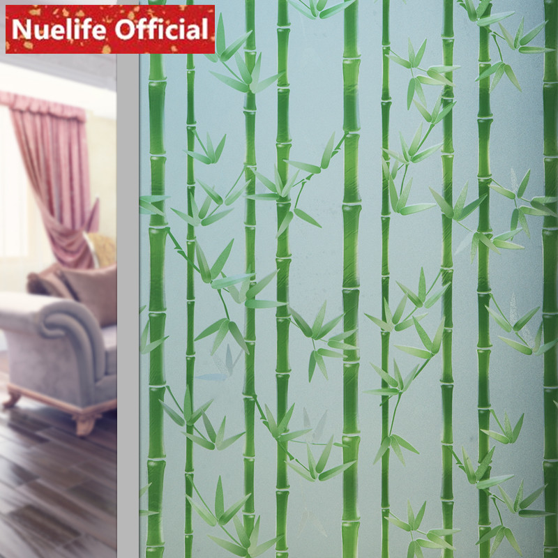 Width 45/60/90cmx200cm Green bamboo leaf pattern glass film bathroom kitchen kids room kindergarten living room window film A