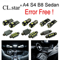 17 unid x canbus libre de errores para audi a4 b8 s4 quattro convertible sedan led bombilla luz interior kit paquete (2009-2015)