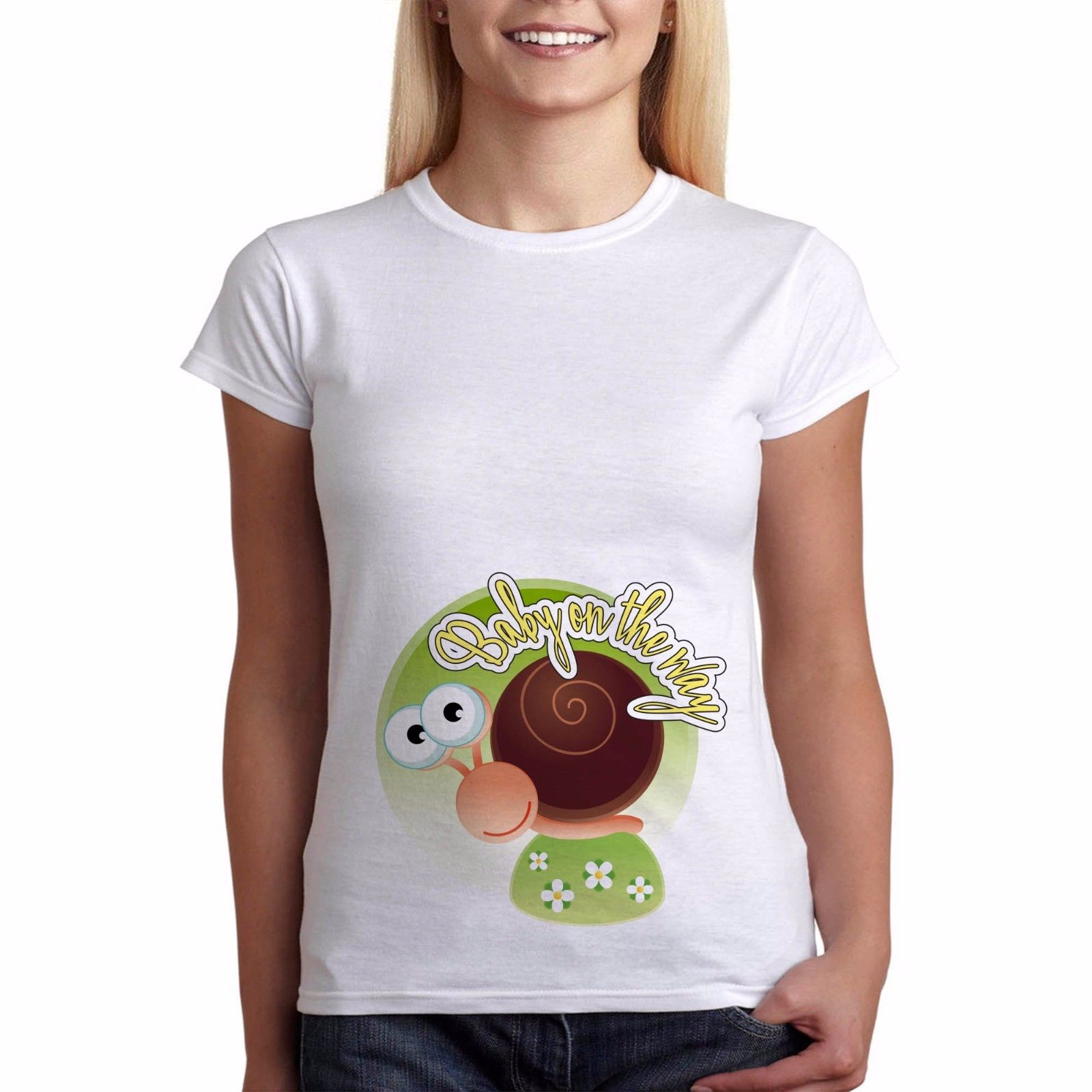 Design your own t-shirt maternity - Pregnancy T Shirt Baby On The Way Funny Maternity Baby Shower Snail Perfect Gift Design