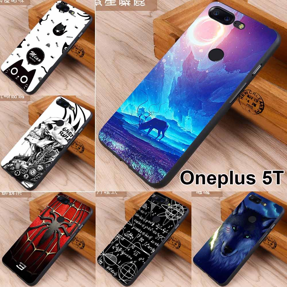 sports shoes dae4d 01ef4 US $4.99 |Oneplus 5T case Oneplus 5T cover 360 full protective shell black  soft TPU wolf skull cartoon case for oneplus 6 silicone cover-in Fitted ...