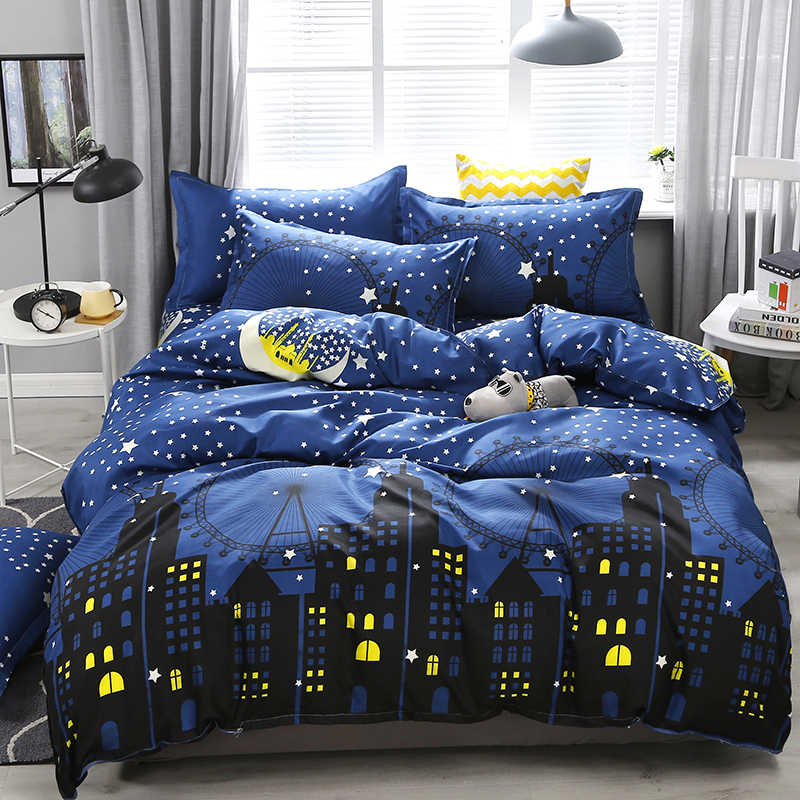 3/4pcs Dark Blue City Night Scene Printing Bedding Set Bed Linings Duvet Cover Bed Sheet Pillowcases Cover Set Dropshipping