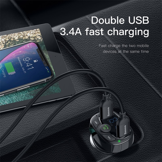 Baseus Car Charger for iPhone Mobile Phone Handsfree FM Transmitter Bluetooth Car Kit LCD MP3 Player Dual USB Car Phone Charger 4