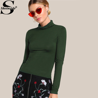 Sheinside Turtleneck Slim Fit T-shirt Green Cowl Neck Long Sleeve Stretchy Casual T-shirt 2017 Women Basic Autumn Shirt