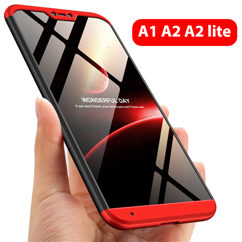 3-in-1 Protect Case 360 Xiaomi Mi A2 lite Mi A2 A1 Phone Case Hard Plastic Xiaomi Mi A1 A2 Cover Tempered Glass Case Fully Cover(China)