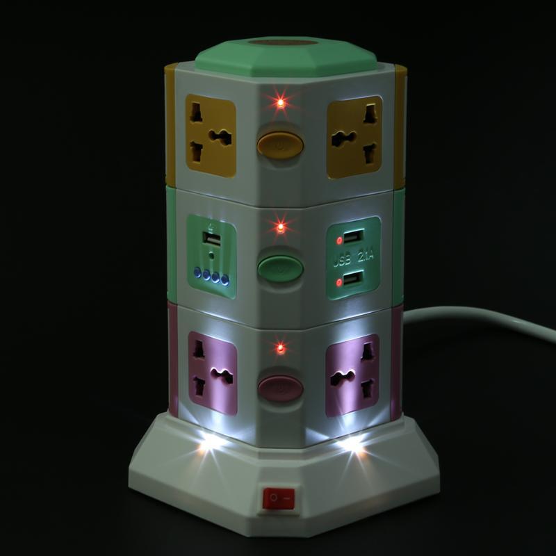 3 couche Universelle Intelligente Prise Électrique Vertical Puissance Prise de Courant Avec Interrupteur Indépendant LED Lumières MP3 jouer + 2 USB ports - 3