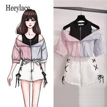 Plus rozmiar 2 sztuk zestawy z krótkimi spodenkami lato słodki koreański off shoulder topy i szorty 2 sztuk zestawy kobiety odzież stroje dwuczęściowe