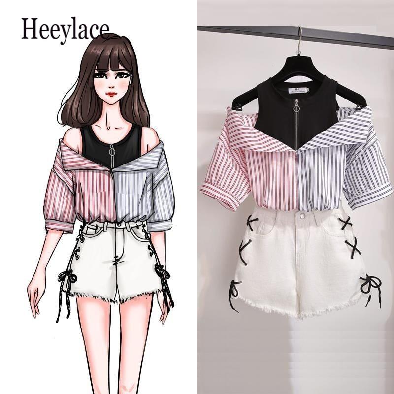 >plus size 2 pieces shorts <font><b>sets</b></font> summer Sweet Korean off shoulder tops and shorts 2 pieces <font><b>sets</b></font> women clothing two pieces <font><b>outfits</b></font>