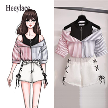 plus size 2 pieces shorts sets summer Sweet Korean off shoulder tops and shorts 2 pieces sets women clothing two pieces outfits cheap heeylace Regular Above Knee Mini O-Neck Zipper Fly Cotton Pullover Casual Half NONE E010 Calf-Length Pants striped