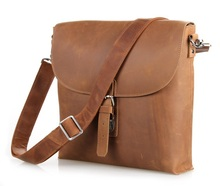 Nesitu High Quality Brown Vintage Real Genuine Leather Cowhide Crazy Horse Leather Men Messenger Bags Cross Body #M6053