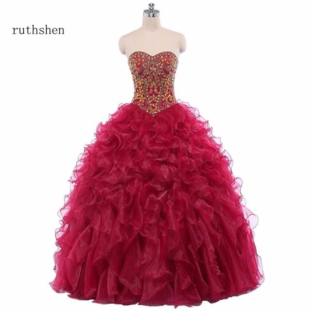 ruthshen Burgundy Quinceanera Dresses sweetheart beaded ruffles ...