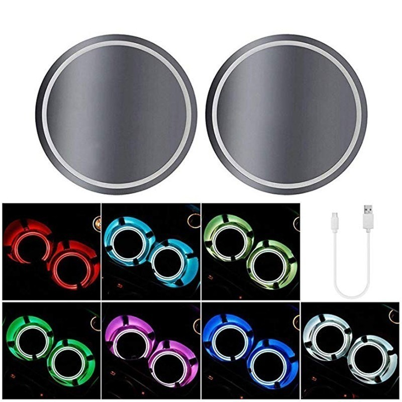 2 PC <font><b>LED</b></font> Cup Background Drinking Water Organizer Holder Pad <font><b>USB</b></font> Sensor 7 colors <font><b>car</b></font> <font><b>logo</b></font> <font><b>LED</b></font> Light atmosphere new design image