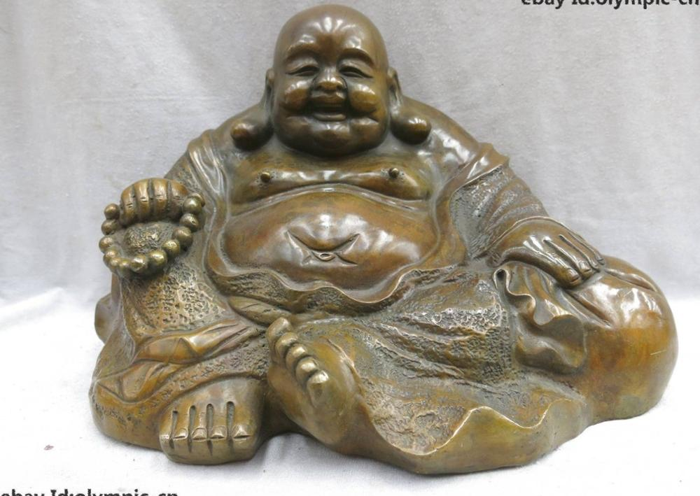 10 China brass copper Buddhism happy Maitreya Buddha Sculpture Statue10 China brass copper Buddhism happy Maitreya Buddha Sculpture Statue