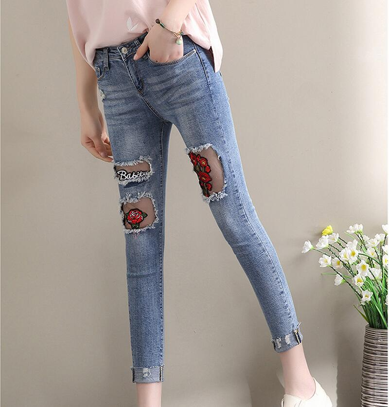 Ladies Embroidery Flower Skinny Jeans Mid Waist Denim Pencil Pants Fashion Ripped Vintage Lace Slim Jeans