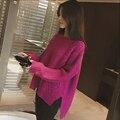 2017 Mujeres de primavera Suéter de Diamante Frente Espalda Corta Larga de Punto O-cuello de Manga Larga Suéter Grueso Femenino Suéter Más Tamaño