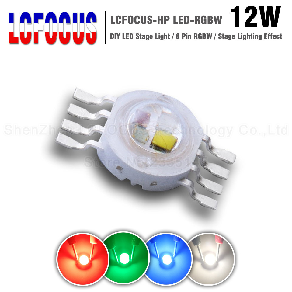 Super Bright 12W RGBW LED Chip COB SMD 45Mil 8 Pin 3W Red Green Blue White Full Color DIY LED Stage Dj Dmx Light Lamp Bar