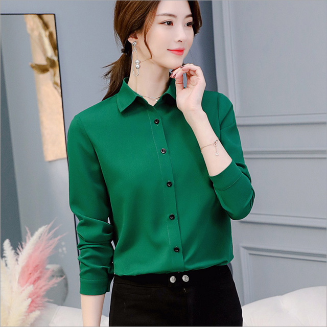 Casual Chiffon Blouse Long Sleeve Elegant Women Tops Women Clothes Slim Women Streetwear Blue White Shirt 3