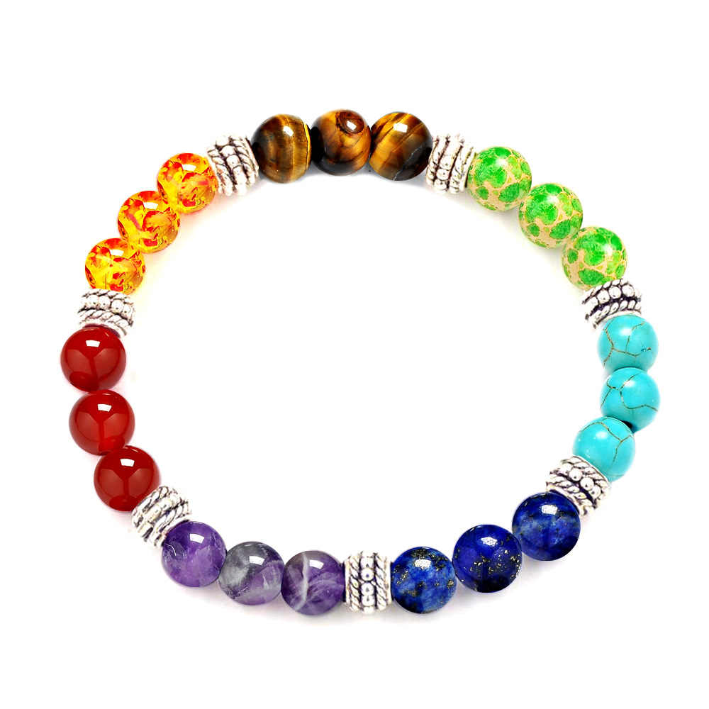 7 CHAKRA natural stone Purple crystal stone tiger eyes stone beads bracelet seven pulse round yoga energy stone bracelet