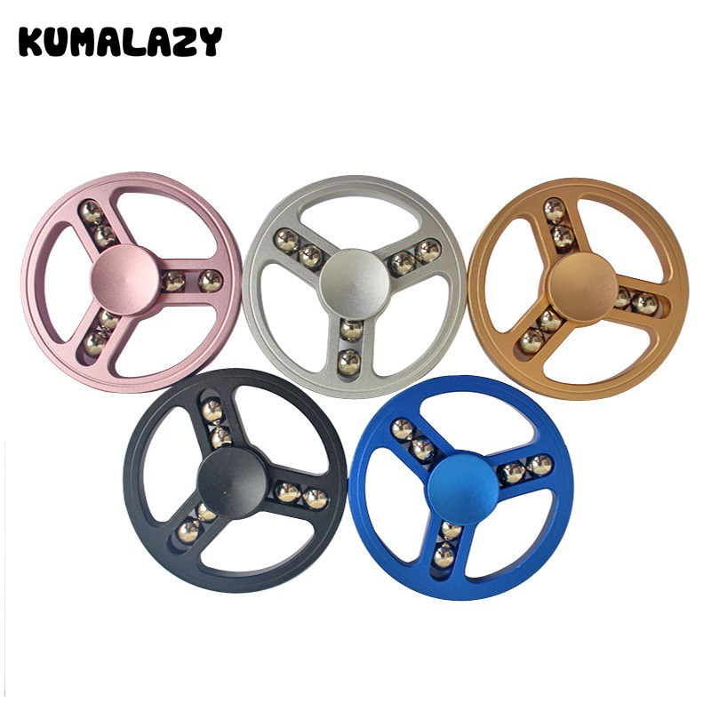 Free Shipping 50pcs/lot Round steel Ball Finger Fidget Spinner  Metal Anti Stress Stainless Steel Bearing Metal Fidget Spinner tri fidget hand spinner triangle metal finger focus toy adhd autism kids adult toys finger spinner toys gags