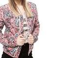 2016 Moda Estilo Europeu Floral Impresso Jaquetas Senhoras Primavera Das Mulheres Casacos de Inverno E Casacos Manga Comprida C054