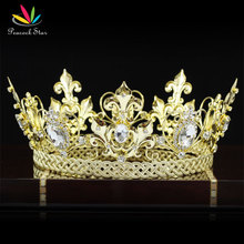 Павлин Звезда Мужчины король императорской короной средневековый Homecoming Аксессуары Full Circle Круглый Золотой Цвет тиара CT1829