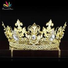 Estrella Hombres Rey Corona Imperial Medieval de Fiesta del pavo real Accesorios Completo Redondo del Círculo del Oro Plateado Tiara CT1829