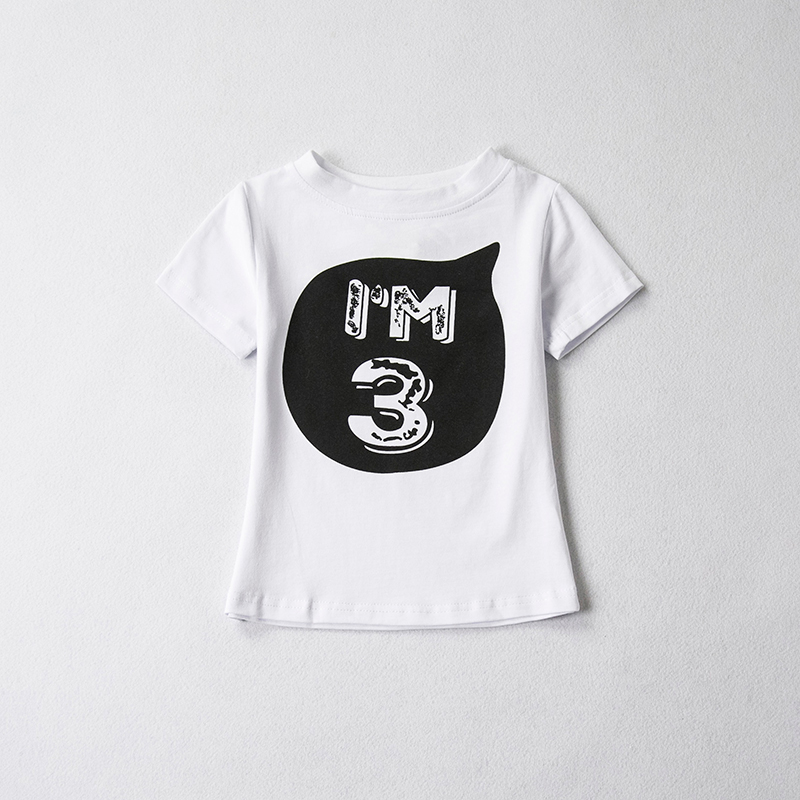 Unisex Summer T-shirt girl 2018 Cotton Letter Tops Baby Girl Clothes 1 2 4 Years Birthday Toddler Boy Shirts Party Wear Clothes