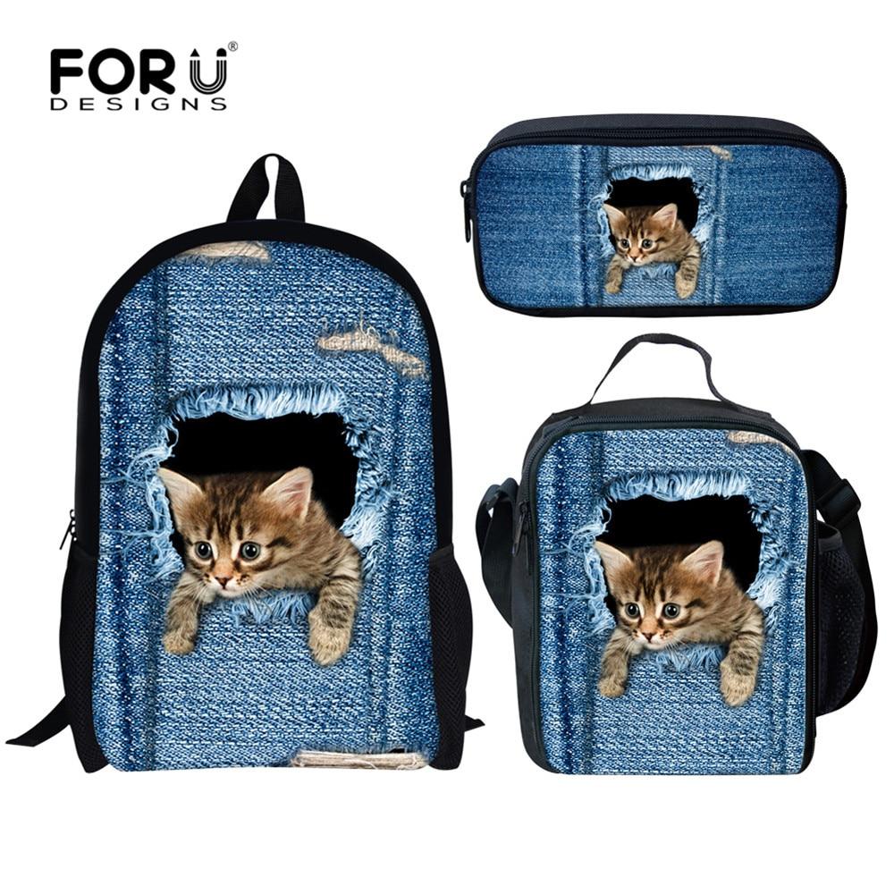 FORUDESIGNS Denim Cute Animal Cat Dog Print School Bags For Teen Girls Jeans Style Children's Backpack 3PCS/Set Student Bookbags