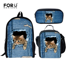 FORUDESIGNS Denim Cute Animal Cat Dog Print School Bags for Teen Girls Jeans Style Childrens Backpack 3PCS/Set Student Bookbags