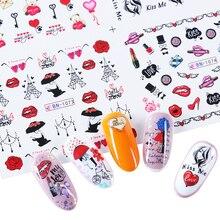12 projetos lábios sexy amor coração unhas adesivos dia dos namorados manicure decoração água slider decalques arte do prego LABN1069 1080
