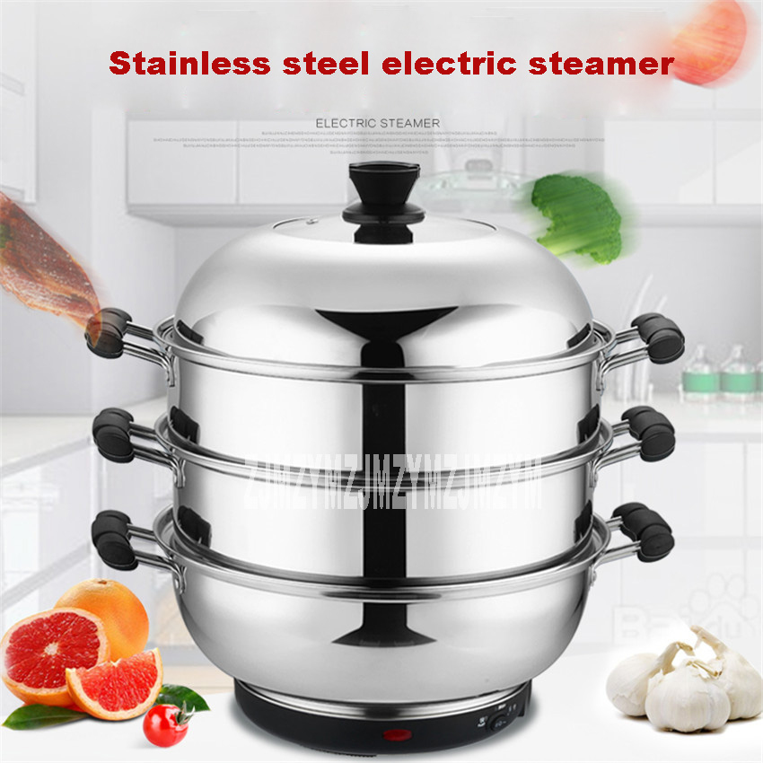 Kitchen Appliances Home Appliances Fine Multifunctional Steamer 304 Stainless Steel Large Capacity Electric Food Steamers 3 Layers Energy-saving Electric Steamer 220v Pleasant In After-Taste