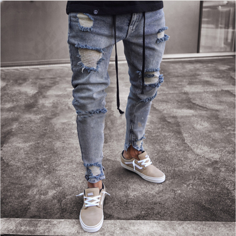 Trend New Skinny Ripped Jeans Men Fashion Ankle Zipper Hole Distressed Jeans Homme Brand Wash Cotton Hip Hop Denim Jeans Pants ...
