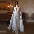 2017 Real Image Lace Mermaid Wedding Dresses With cape Two Pieces Appliques Illusion Sleeve Sweep Train Zipper Bridal Gown 2130