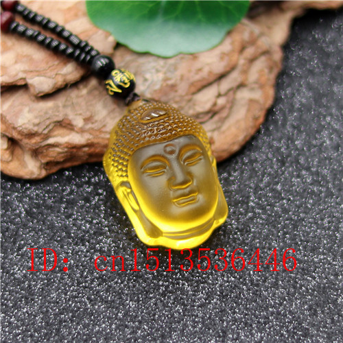 Natural Yellow White Crystal Buddha Head Pendant Beads Necklace Charm Jewellery Fashion Hand-Carved Luck Amulet Gifts