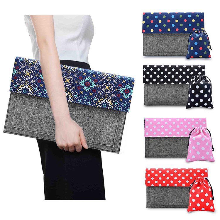 New National Style  Felt And Canvas Laptop Sleeve Case For Macbook Air 11 12 Colour Retro Dot Laptop Bag For 11