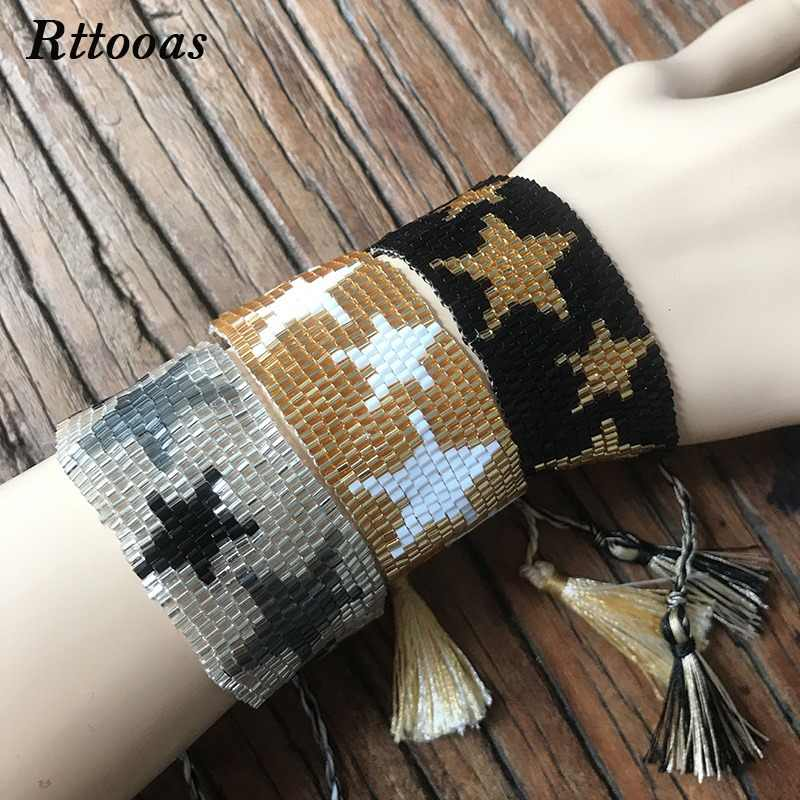 Rttooas Go2boho Fashion Bead Bracelets & Bangles for Women Boho Star Pattern Seed Beads Cuff Bracelet Friendship Tassel Jewelry