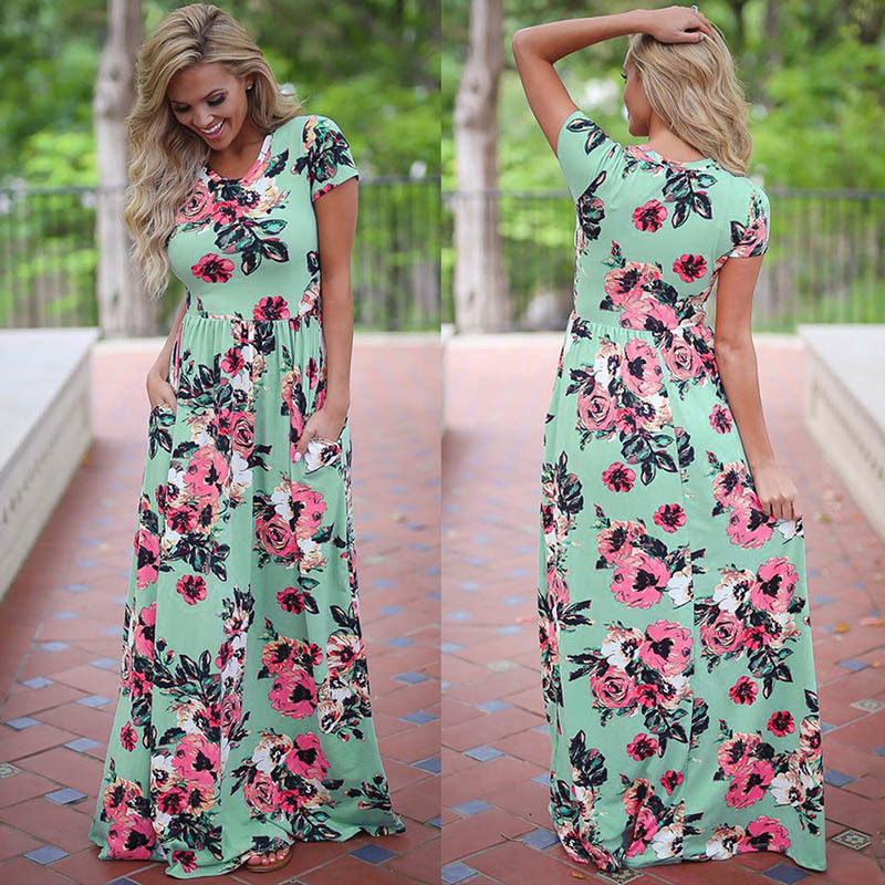 New 2018 Summer Autumn Women Clothing Robe Dresses Short Sleeve Floral Print Large Size Long Dress Plus Size 2XL 3XL Vestidos
