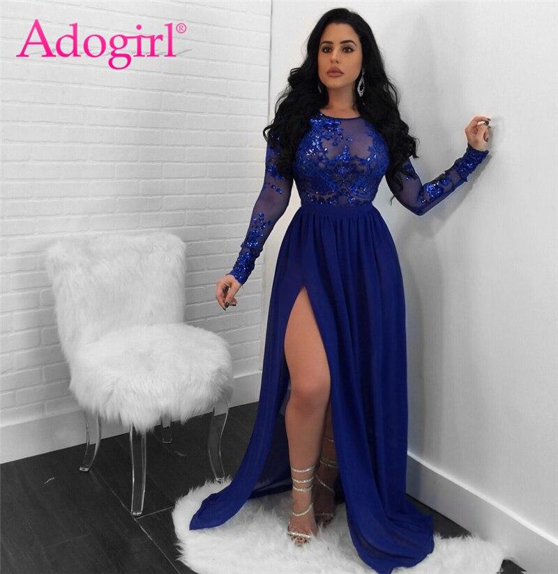 Adogirl/Коллекция 2018 года, сексуальное платье с открытой спиной и блестками для ночного клуба, с круглым вырезом и длинными рукавами, с высоким ...