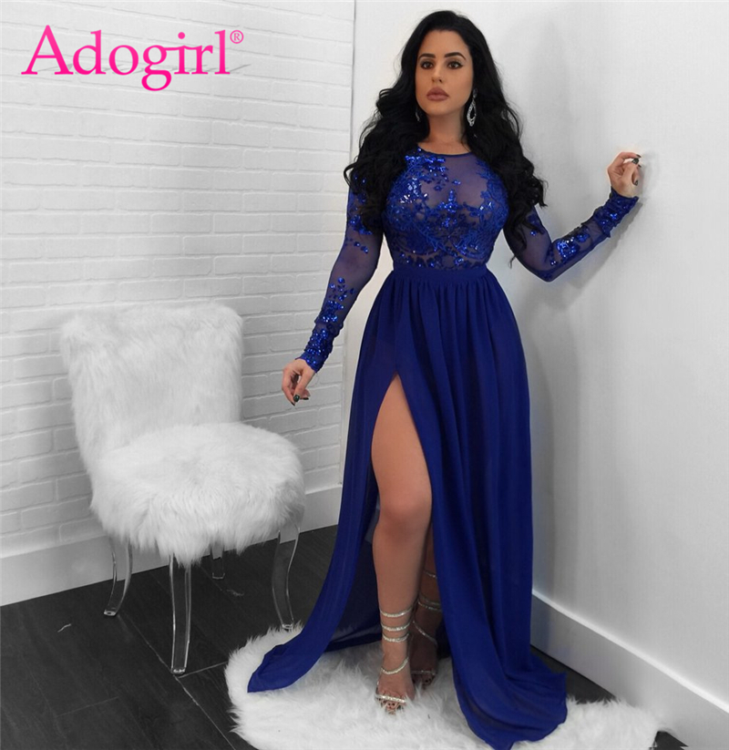 Adogirl <font><b>2018</b></font> <font><b>Sexy</b></font> Open Back See Through Sequins Night <font><b>Club</b></font> Dress O Neck Long Sleeve High Slit Maxi Evening <font><b>Party</b></font> Dresses Vestido image