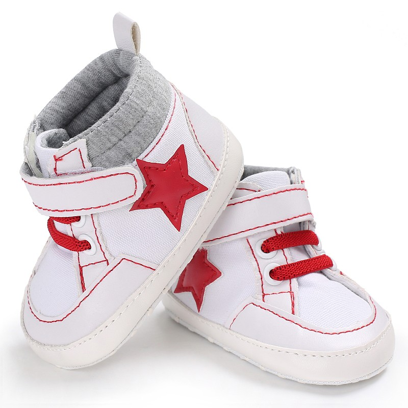 Baby Kids Toddlers Canvas Baby Boy Cotton Crib Shoes Lace Up Casual Star Shoes First Walkers